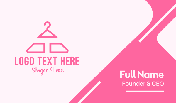 womenswear - Pink Hanger Letter T Business card horizontal design