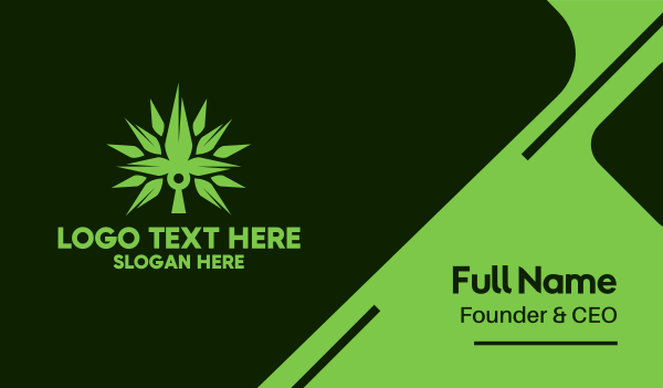 cbd oil - Spikey Cannabis Plant Business card horizontal design