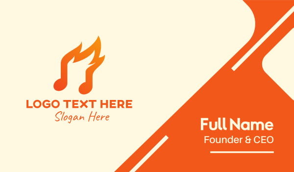 quarter note - Fire Music Note Business card horizontal design