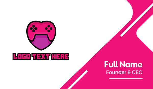 nintendo - Feminine Heart Gamer Business card horizontal design