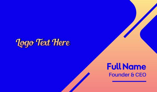 word - Gradient Script Fashion Wordmark Business card horizontal design