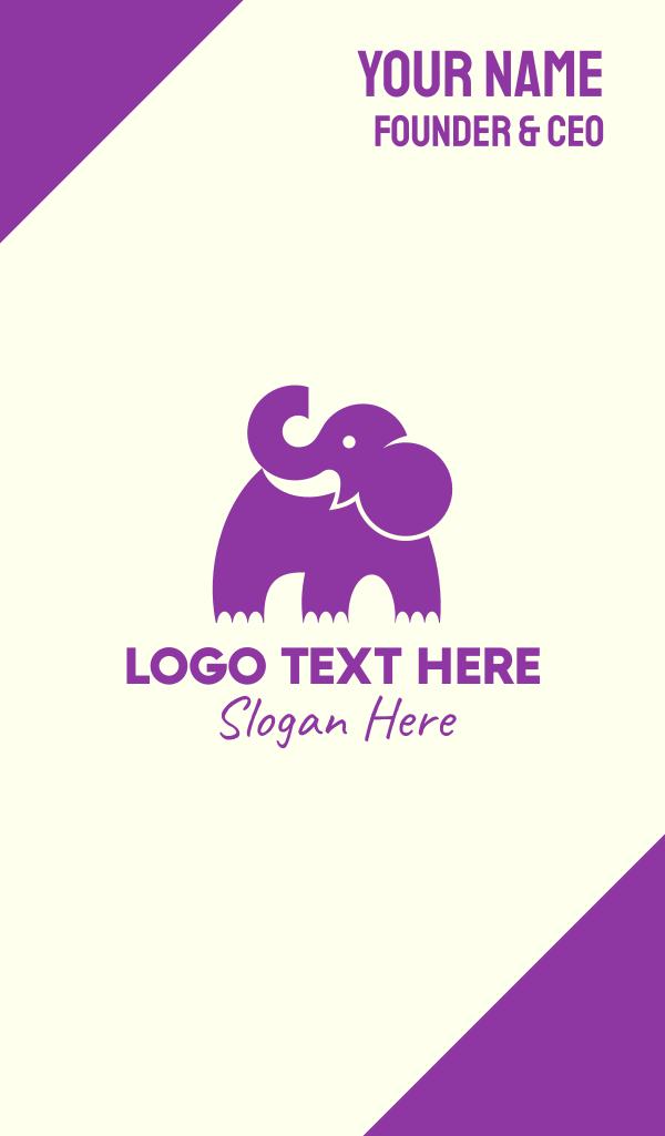 Cute Purple Elephant Business Card