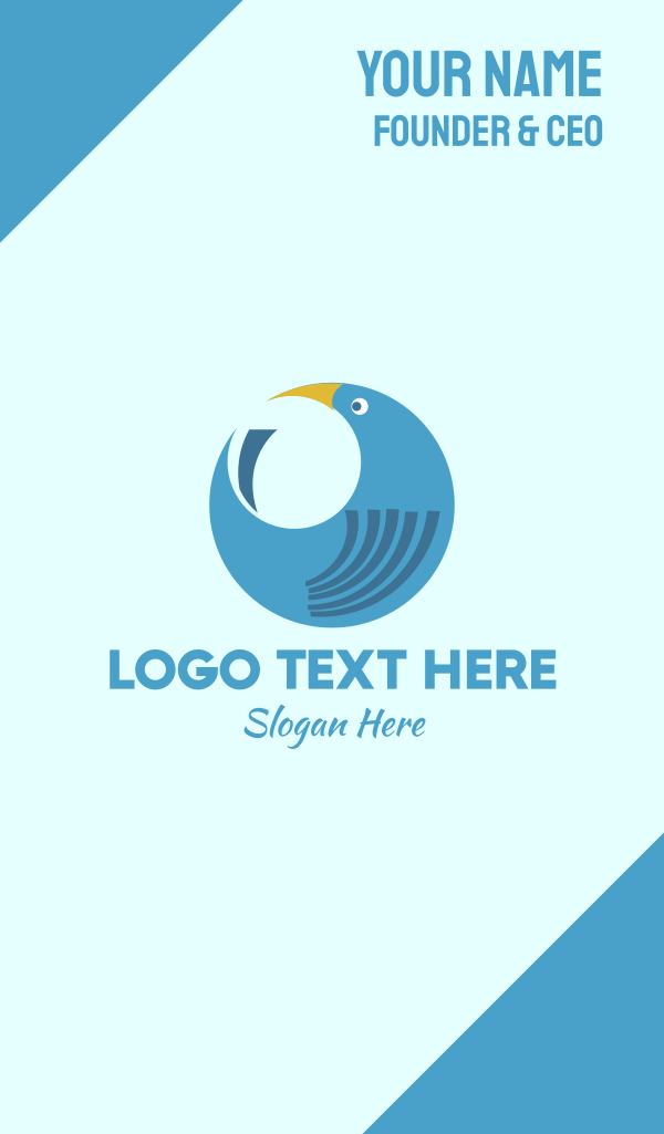 Round Blue Bird Business Card