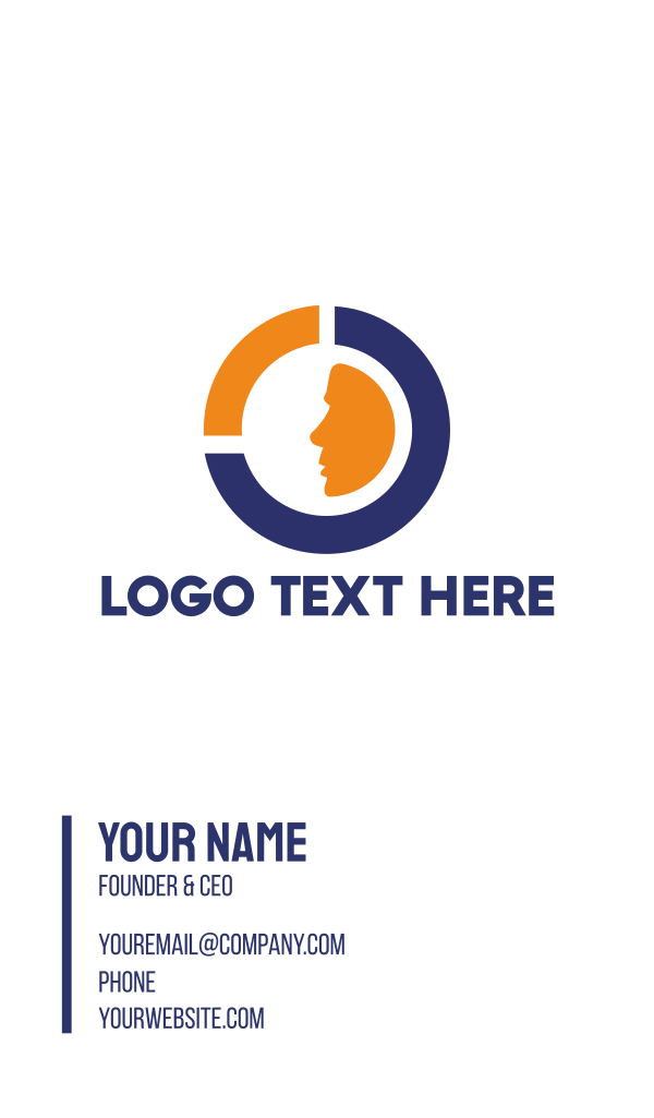 Blue Orange Circle Face Business Card