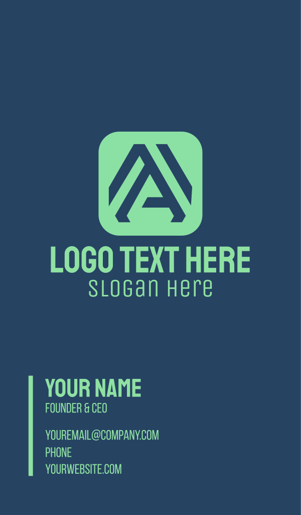 Green App Letter A Business Card