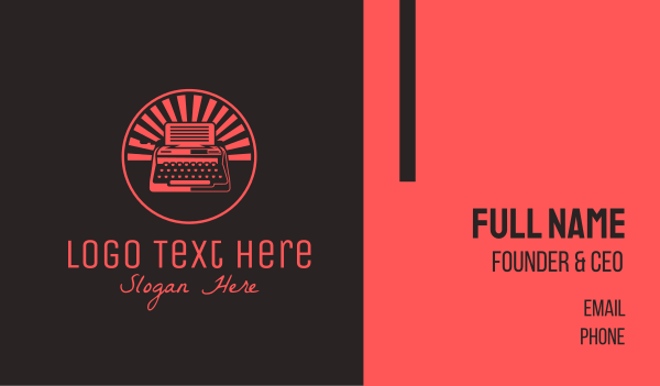 news - Red Vintage Typewriter Business card horizontal design
