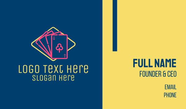 poker - Neon Gambling Cards  Business card horizontal design