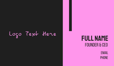 Hot Pink Handwritten Text Wordmark Business Card