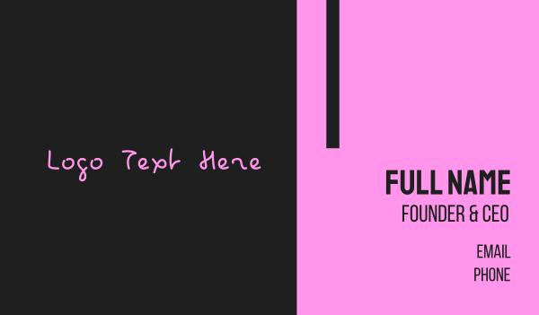 bachelorette - Hot Pink Handwritten Text Wordmark Business card horizontal design