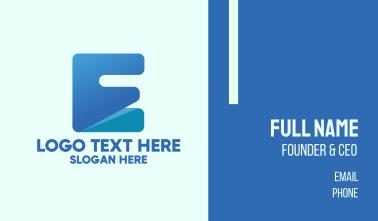 Blue Letter E Block Business Card