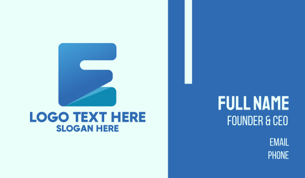 digital security - Blue Letter E Block Business card horizontal design