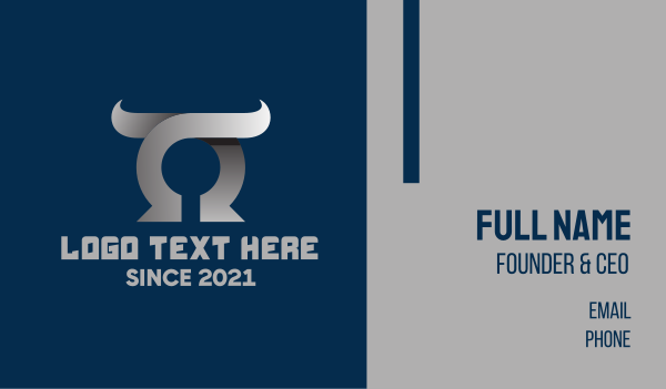 horns - Silver Letter O Horns Business card horizontal design