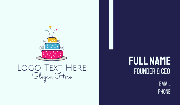 birthday cake - Colorful Cake Business card horizontal design