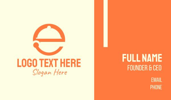 hungry - Orange Cloche Letter E Business card horizontal design