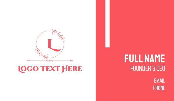 text logo - Pink Feminine Wreath Lettermark Business card horizontal design