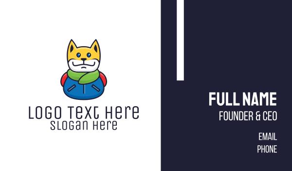 winter - Colorful Jacket Cat Business card horizontal design