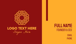 Golden Oriental Octagon Pattern Business Card