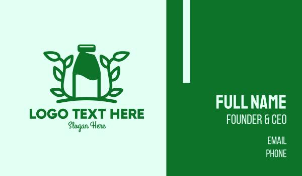 milk bottle - Organic Plant Milk Business card horizontal design