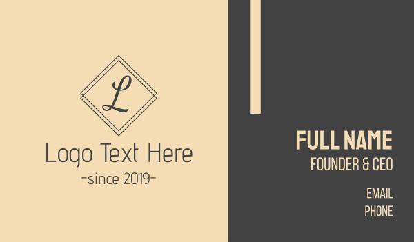 letter l - Classic L Script Business card horizontal design