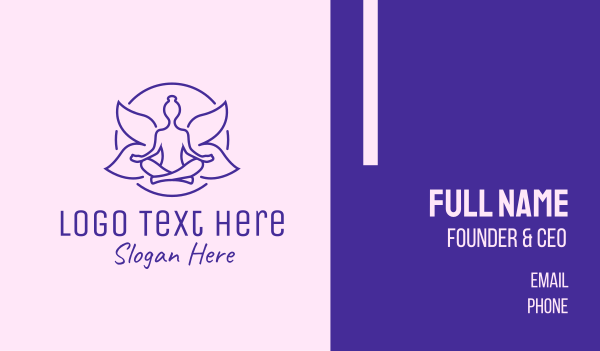 yoga instructor - Violet Yoga Fairy  Business card horizontal design