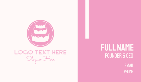 cake shop - Pink Cake  Business card horizontal design