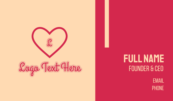 cupid - Red Heart Romantic Letter Business card horizontal design