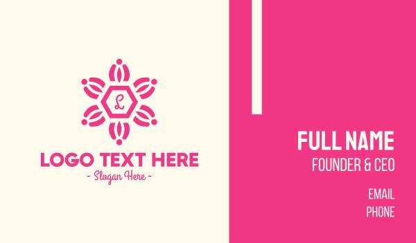 bloom - Pink Floral Lettermark Business card horizontal design