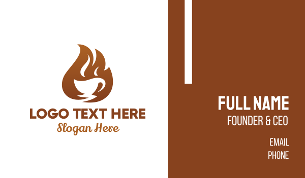 brown cup - Fire Coffee Cafe Business card horizontal design