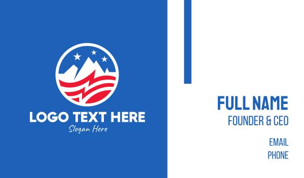 nashville - American USA Mountain Flag  Business card horizontal design