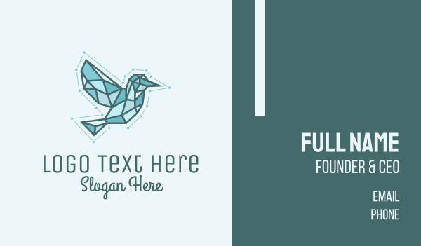 triangulation - Blue Geometric Bird Business card horizontal design