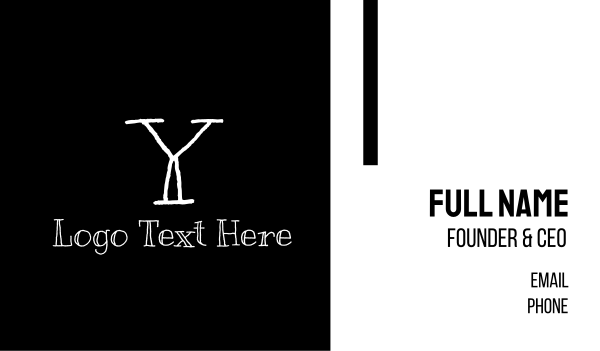 letter y - Blackboard Handwritten Letter Y Business card horizontal design