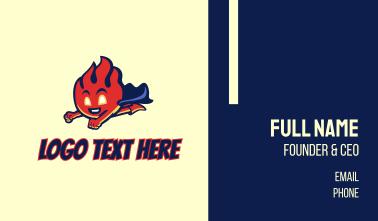 Flying Fire Supehero Mascot Business Card