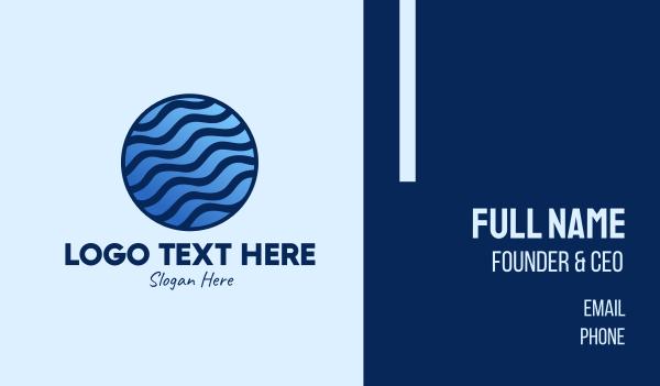 waves - Blue Waves Globe  Business card horizontal design