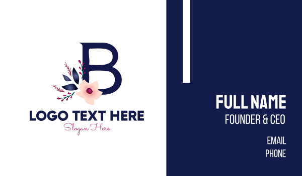 bridal - Floral Letter B Business card horizontal design