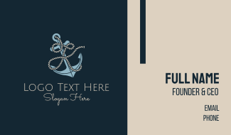 Anchor Rope Letter K Business Card