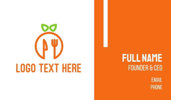 green and orange - Orange Cutlery Business card horizontal design