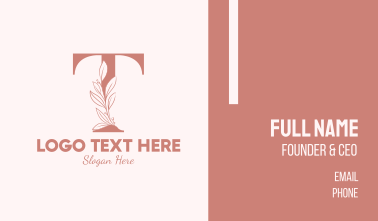 Elegant Leaves Letter T Business Card