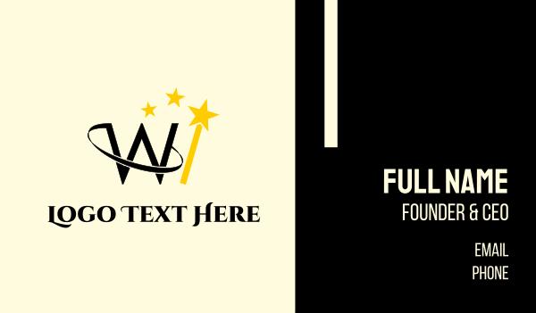 magic - Wizard W Gold Business card horizontal design