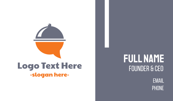 waiter - Food Bubble Message Business card horizontal design