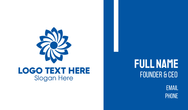 turbine - Blue Flower Business card horizontal design