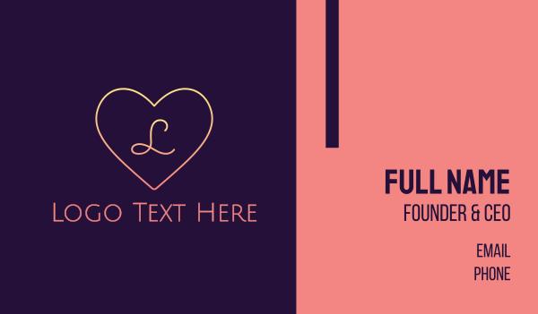 girlfriend - Minimalist Gradient Heart Business card horizontal design