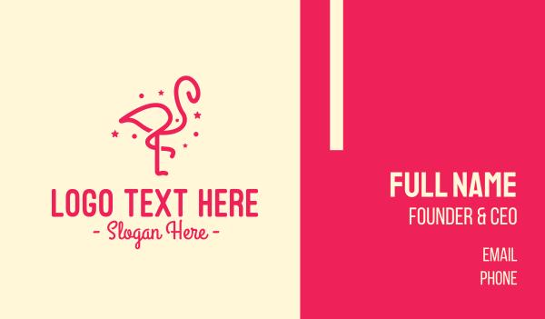 wild bird - Pink Star Flamingo Business card horizontal design