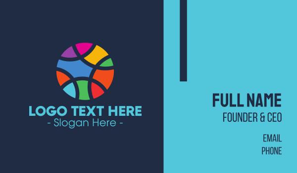 color - Colorful Mosaic Circle Ball Business card horizontal design