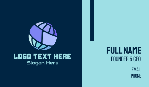 it company - Simple Digital Globe  Business card horizontal design