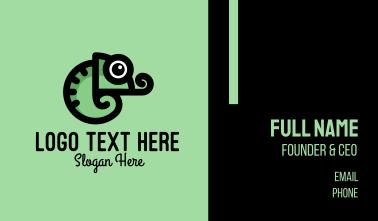 Cute Green Chameleon Business Card