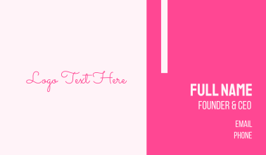 Pink Signature Wordmark Business Card