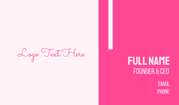 womenswear - Pink Signature Wordmark Business card horizontal design