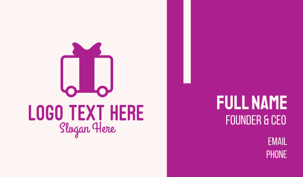 logistic services - Purple Gift Delivery Business card horizontal design