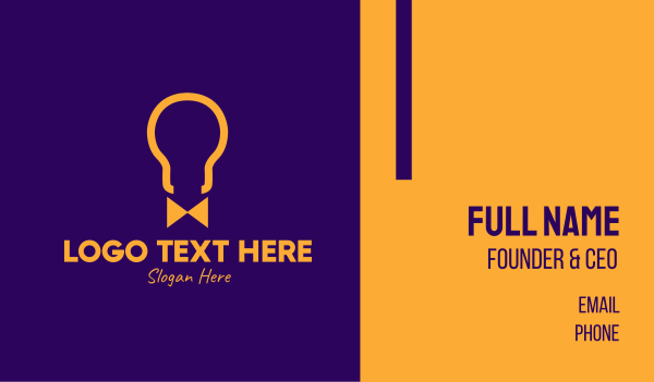 purple and yellow - Light Bulb Bow Tie  Business card horizontal design