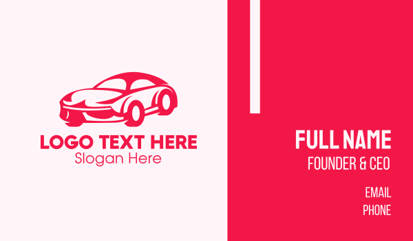 supercar - Red Sports Car Business card horizontal design